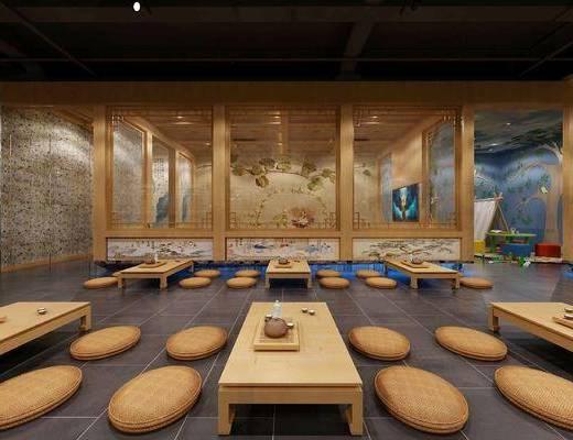 大厅, 会所, 汗蒸, 桌椅组合, 绿植墙
