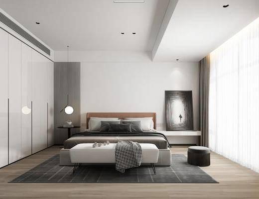 双人床, 床具组合, 吊灯, 装饰画, 衣柜, 窗帘