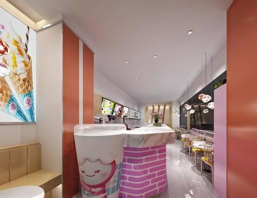 冰淇淋店, 餐桌, 餐椅, 单人椅, 吊灯, 门面门头, 现代