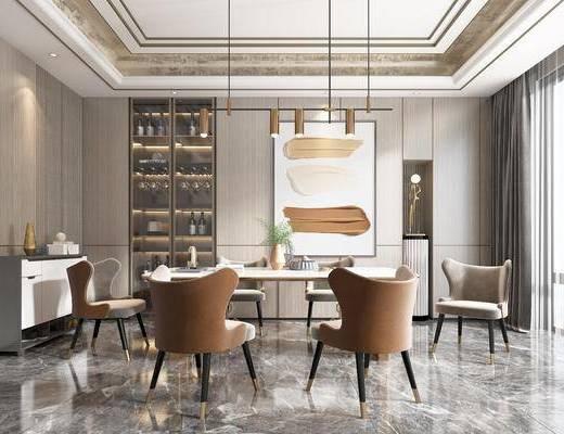 餐桌, 餐椅, 边柜, 酒柜, 吊灯, 挂画, 饰品