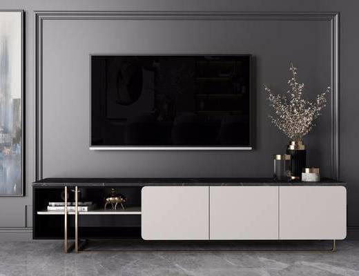 电视柜, 柜架组合, 摆件组合, 盆栽植物