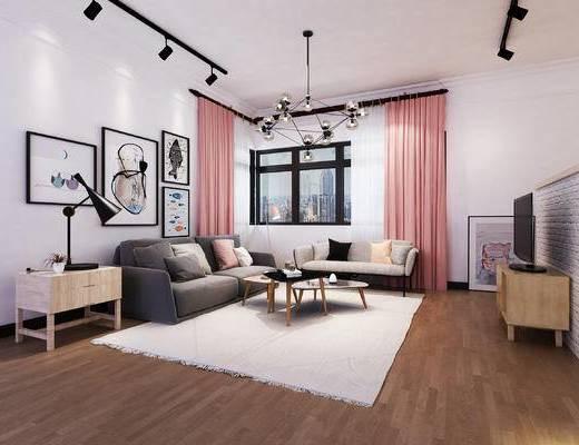 北欧, 客厅, 餐厅, 沙发组合, 灯具, 挂画, 茶几, 餐桌椅
