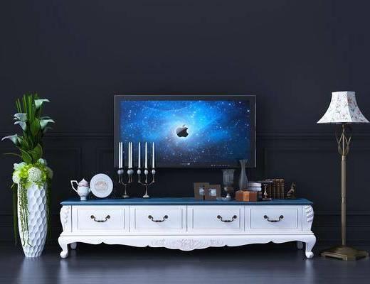 电视柜, 边柜, 装饰柜, 落地灯, 盆栽, 现代
