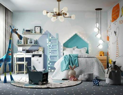儿童房, 床具组合, 桌椅组合, 吊灯组合, 玩偶组合, 现代