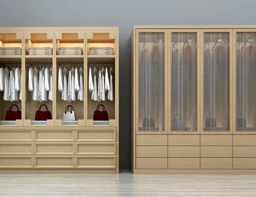 现代, 衣柜, 衣服, 女式包, 置物柜
