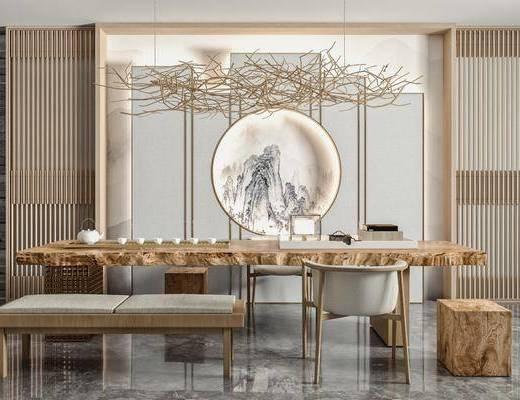 原木色办公桌椅, 根雕茶桌, 藤条吊灯, 摆件装饰品, 矮凳, 屏风