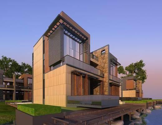 别墅, 草地, 池塘, 树木绿植, 现代