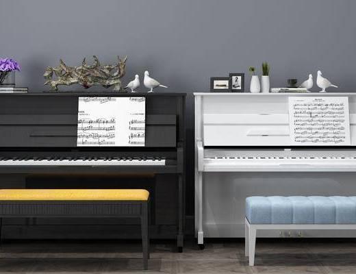 钢琴组合, 摆件组合, 现代
