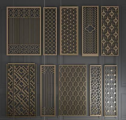 金属雕花, 屏风组合, 折叠屏风, 栅格屏风, 实木屏风, 欧式