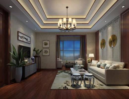 中式, 客厅, 多人沙发, 茶几, 凳子, 电视柜, 盘栽, 吊灯, 墙饰, 边几, 台灯
