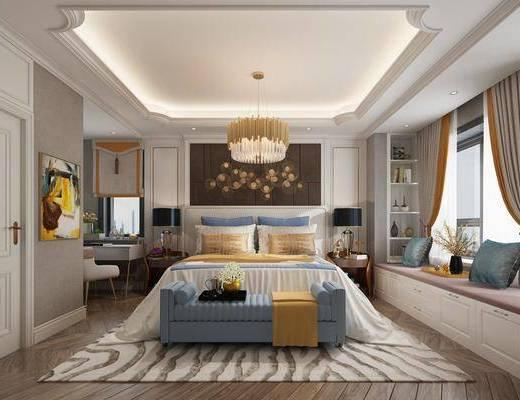 卧室, 双人床, 床尾凳, 床头柜, 台灯, 吊灯, 墙饰, 榻榻米, 书桌, 单人椅, 装饰画, 现代轻奢