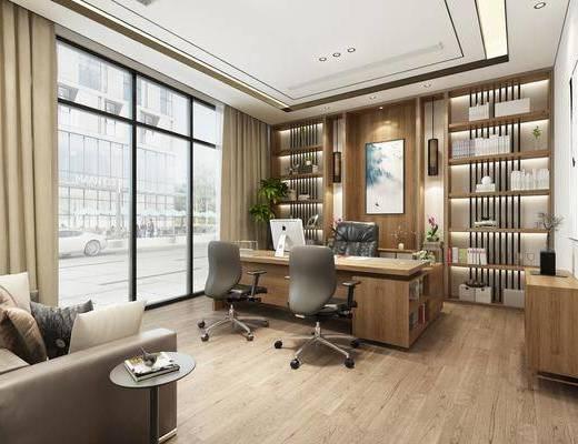 桌椅组合, 沙发组合, 装饰画, 书柜书架