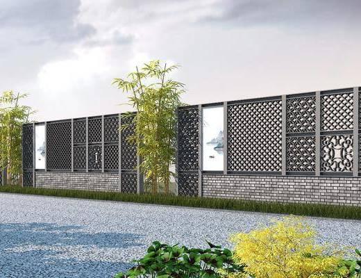 景墙, 景观墙, 护栏, 中式