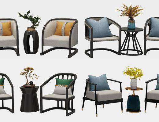 休闲椅, 单人椅, 边几, 花瓶花卉, 摆件组合, 新中式