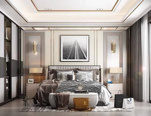 装饰画, 地毯, 窗帘, 衣柜, 摆件, 购物袋, 壁灯