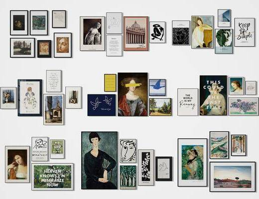 装饰画, 挂画, 照片墙, 组合画, 现代