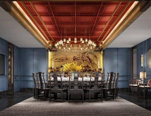 餐厅, 包间, 餐桌, 桌椅组合, 吊灯, 背景墙