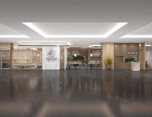 餐厅, 桌椅组合, 边柜, 吊灯, 背景墙, 盆栽植物