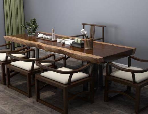 书桌椅组合, 摆件组合, 中式