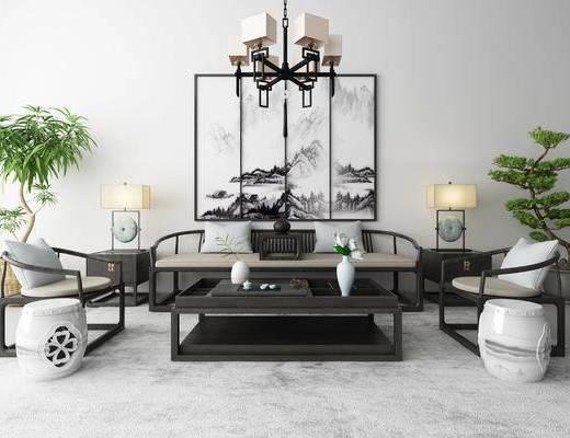 新中式沙发茶几装饰画吊灯地毯组合, 新中式, 中式沙发, 茶几, 植物