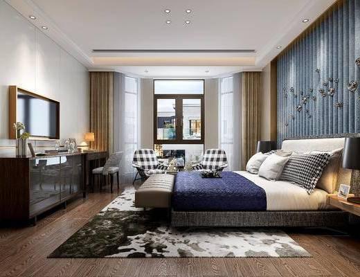 现代卧室, 现代床具, 床具, 卧室, 边柜, 落地灯, 床头柜, 台灯, 沙发, 墙饰