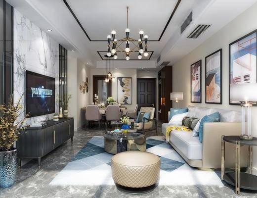现代客餐厅, 多人沙发, 沙发凳, 挂画, 边柜, 茶几, 边几, 台灯, 单人沙发, 现代