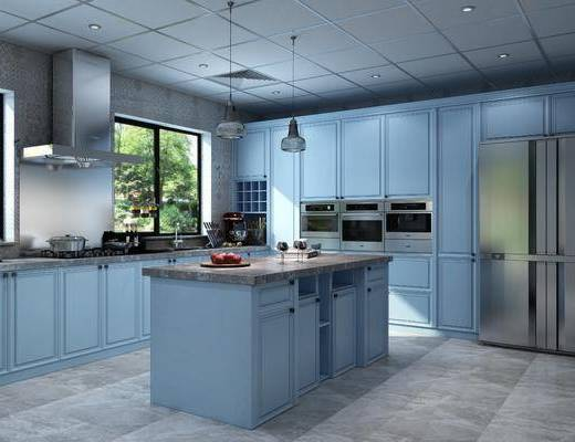 厨房, 橱柜, 厨具, 吊灯, 装饰柜, 摆件, 装饰品, 陈设品, 冰箱, 北欧