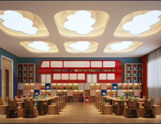 幼儿园, 桌子, 单人椅, 玩具, 书柜, 装饰柜, 书籍, 装饰品, 陈设品, 现代