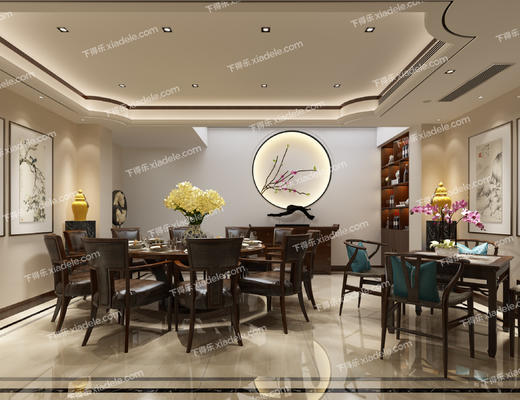 中式, 包房, 包间, 餐厅, 餐桌椅, 桌椅组合