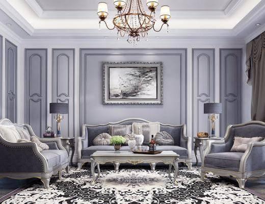 欧式, 客厅, 多人沙发, 单人沙发, 茶几, 吊灯, 边几, 台灯, 挂画