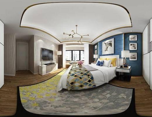 中式卧室, 主卧, 卧室, 床, 吊灯, 电视柜, 床头柜