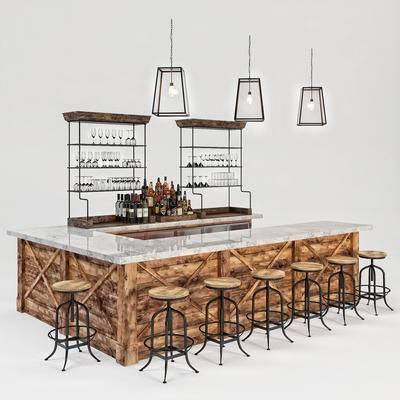 酒吧, 吧台, 吧椅, 酒柜, 酒杯, 酒水, 吊灯, 工业风, 吧凳