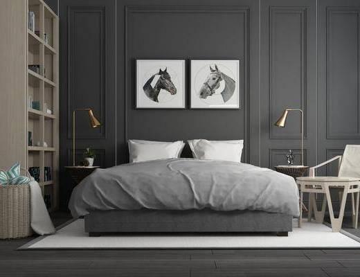 双人床, 床具组合, 北欧双人床, 摆件组合, 单椅