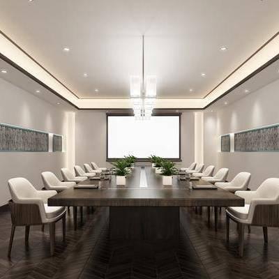 会议室, 桌子, 会议桌, 单人椅, 吊灯, 摆件, 新中式