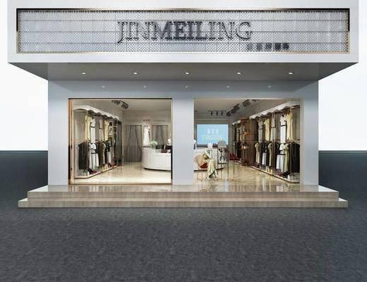 服装店, 门面门头, 衣架服饰, 现代