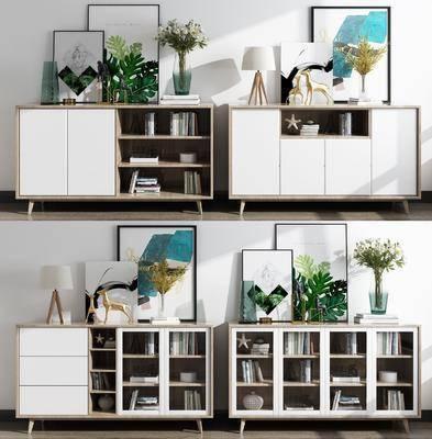 餐边柜, 边柜, 书柜, 花瓶花卉, 台灯, 书籍, 摆件, 装饰品, 陈设品, 北欧
