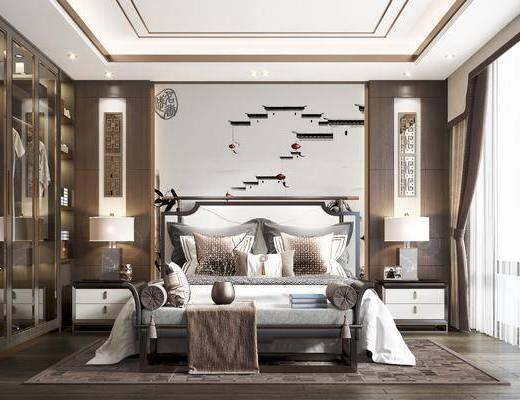 双人床, 床尾踏, 床头柜, 台灯, 挂画, 衣柜, 背景墙