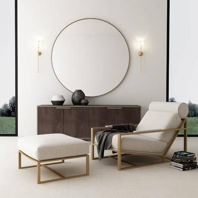 边柜, 装饰柜, 单人椅, 凳子, 壁灯, 休闲椅, 现代