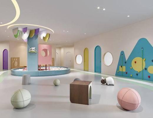 现代, 幼儿园, 娱乐区, 工装