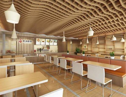 快餐店, 餐厅, 餐桌, 餐椅, 吊灯, 前台, 单人椅, 盆栽, 绿植, 植物, 现代