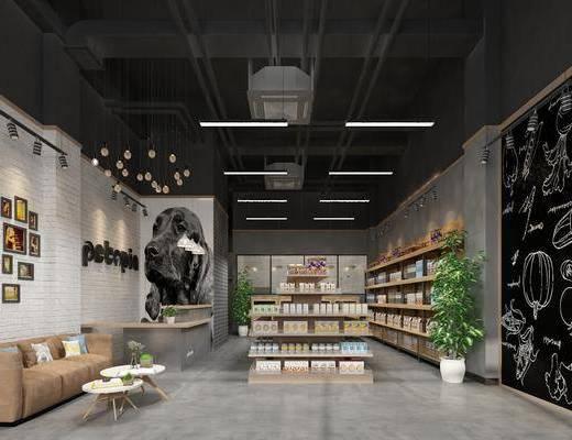 店铺, 货架, 宠物店, 工业风, 盆栽
