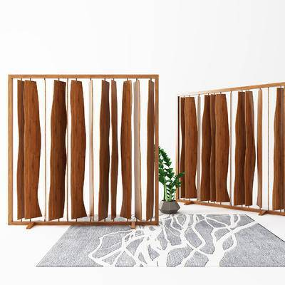现代, 屏风, 隔断, 中式, 新中式, 盆栽, 地毯