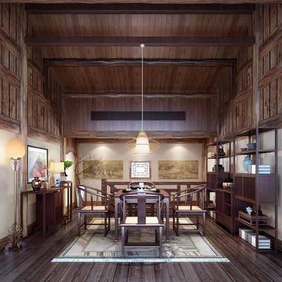 茶室, 餐桌, 茶桌, 桌子, 单人椅, 餐椅, 装饰架, 边柜, 装饰画, 挂画, 吊灯, 摆件, 落地灯, 中式
