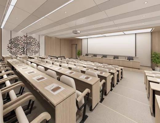 现代报告厅3d模型, 会议室, 报告厅, 投影