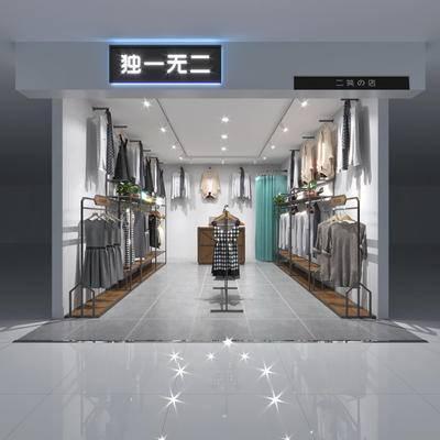 服装店, 模特, 展架, 衣架, 现代