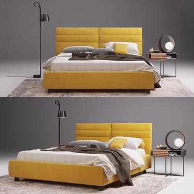 双人床, 床头柜, 台灯, 落地灯, 北欧