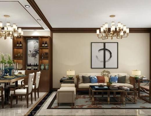 新中式客餐厅, 中式茶几沙发, 中式客厅, 沙发组合, 沙发茶几组合, 中式沙发