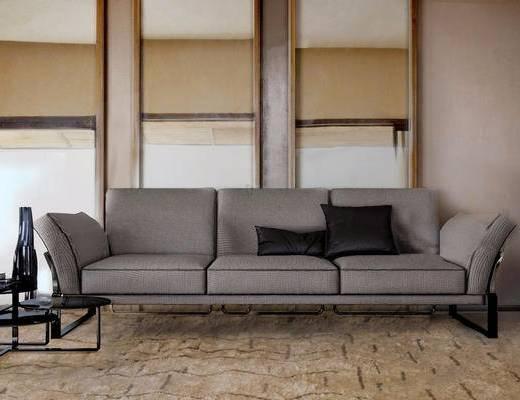 沙发组合, 边几, 多人沙发, 书籍, 抱枕