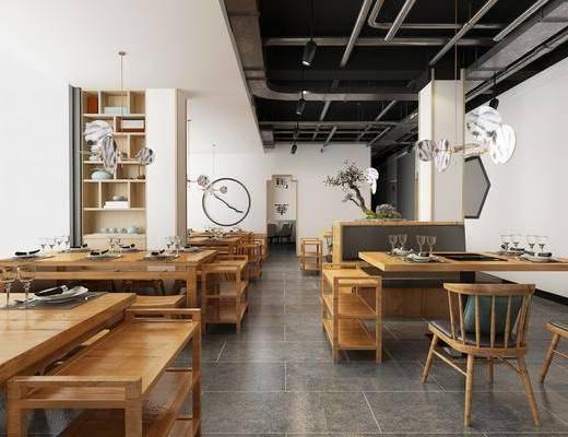 火锅店, 餐桌, 餐椅, 餐具, 吊灯, 圆桌, 盆栽, 墙饰, 装饰柜, 装饰品, 陈设品, 新中式