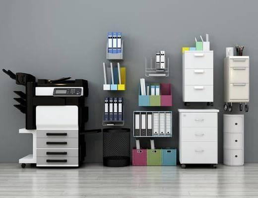 现代办公用品, 现代, 打印机, 文件夹, 收纳箱, 笔筒